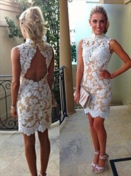 Peach High Neck Lace Sheath Short Cocktail Dress With Keyhole Back