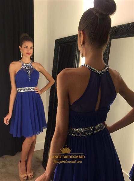 Royal Blue High Neck Beaded Short Cocktail Dress With Keyhole Back