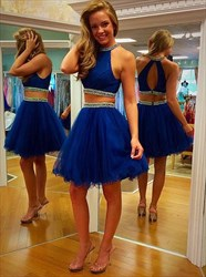 Royal Blue Two Piece Beaded High Neck Homecoming Dress With Keyhole