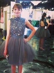 Grey High Neck Sheer Lace Bodice Short Prom Dress With Keyhole Back