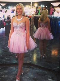 Pink Strapless Sweetheart Beaded Tulle Short Homecoming Dress