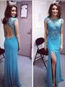 Blue Sheer Lace Applique Cap Sleeve Backless Slit Long Formal Dress