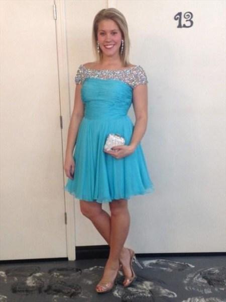 Aqua Blue Beaded Off The Shoulder Short Sleeve Ruched Bridesmaid Dress