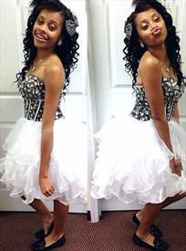 White Strapless Sweetheart Beaded Top Tulle Short Homecoming Dress
