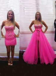 Hot Pink Strapless Beaded Sheath Formal Dresses With Detachable Skirts