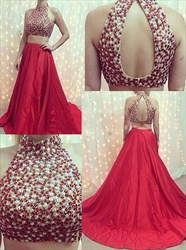 Red Two Piece High Neck Beaded Top Open Back Ball Gown Prom Dress
