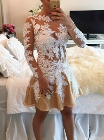 Peach Sheer Lace Applique Long Sleeve Short Homecoming Dress