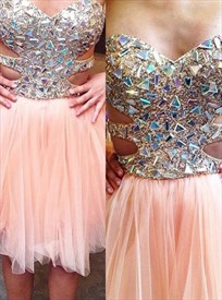 Pink Strapless Beaded Top Short Prom Dress With Cutout Sides