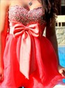 Coral Strapless Sweetheart Beaded Short Cocktail Dress With Bow