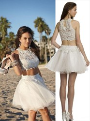 White Two Piece High Neck Lace Embellished Short Homecoming Dress