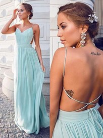 Baby Blue Spaghetti Strap Open Back Ruched Chiffon A Line Prom Dress