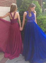 Royal Blue Halter Beaded Sleeveless Backless A Line Long Prom Dress