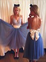 Blue Spaghetti Strap Lace Top Open Back Tea Length Prom Dress With Bow