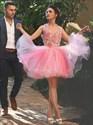 Pink Halter Floral Applique Short Cocktail Dress With Keyhole Back