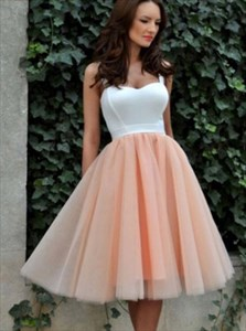 Peach Sweetheart Short Tulle Bridesmaid Dress With Straps
