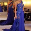 Royal Blue One Shoulder Lace Applique Long Prom Dress With Slit