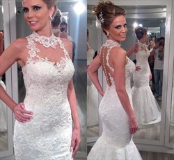 Ivory High Neck Lace Applique Sheer Back Mermaid Tulle Wedding Dress