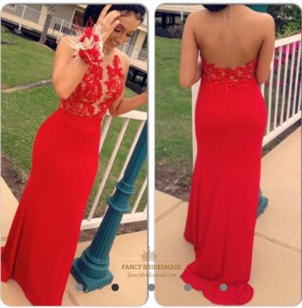 Red Halter Sheer Lace Bodice Backless Long Chiffon Evening Dress