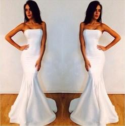 White Elegant Strapless Mermaid Floor Length Chiffon Prom Dresses