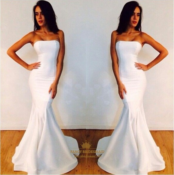 White Elegant Strapless Mermaid Floor Length Chiffon Prom Dresses
