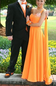 Orange One Shoulder A Line Beaded Chiffon Long Bridesmaid Dress