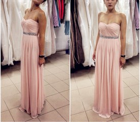 Pink Strapless Sweetheart Bridesmaid Dress With Beaded Detail