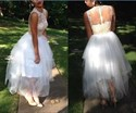 White Sheer Lace Bodice Tea Length Tulle Wedding Dress
