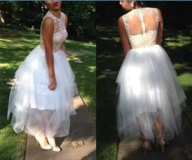 White Sheer Lace Bodice Tea Length Tulle Wedding Dress