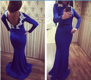 Royal Blue Lace Applique Backless Long Sleeve Mermaid Prom Dress