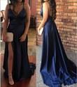 Navy Blue Spaghetti Strap V-Neck Open Back Formal Dress With Slit