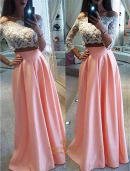 Pink Two Piece Long Sleeve Prom Dress With Sheer Lace Bodice