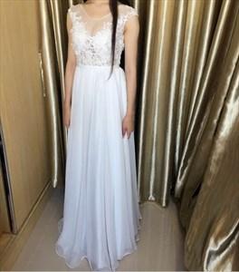 White Sheer Lace Applique Bodice Open Back Long Formal Dress