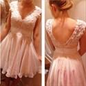 Pink V Neck Lace Applique Cap Sleeve Short Chiffon Bridesmaid Dress