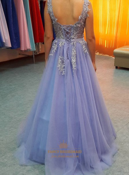 Lilac V Neck Floral Applique Corset Open Back Long Prom Dress