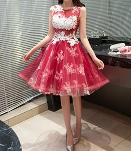 Red Lace Applique Sheer Back Short Fit And Flare Cocktail Dress