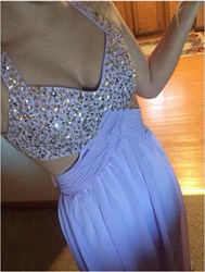 Lavender Halter Cross Back Beaded Long Prom Gown With Side Cutouts