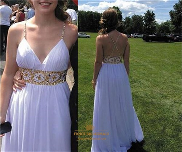 White V Neck Spaghetti Strap Beaded Empire Waist Long Prom Dress