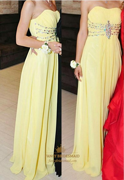 Yellow Strapless Sweetheart Beaded Empire Waist Chiffon Prom Dress