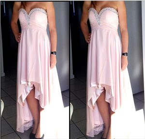 Blush Pink Strapless Sweetheart Beaded High Low Bridesmaid Dress