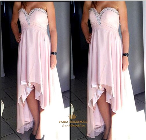 b839ce3c0dcc Blush Pink Strapless Sweetheart Beaded High Low Bridesmaid Dress ...