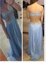 Baby Blue Spaghetti Strap Beaded Open Back Prom Dress With Slit