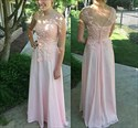 Pink Cap Sleeve Lace Applique Backless Long Chiffon Formal Dress