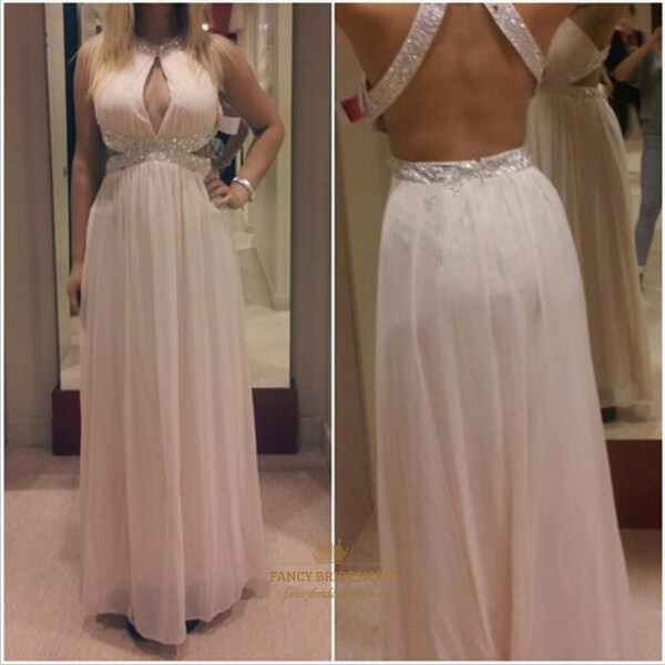Blush Pink Beaded Backless Side Cutout Prom Dress With Keyhole Front