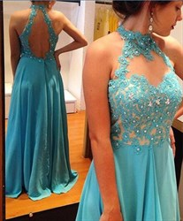 Blue High Neck Backless Sheer Embellished Illusion Neck Formal Gown