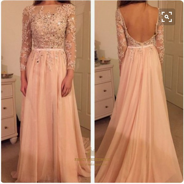 Blush Pink Illusion Sheer Lace Long Sleeve Backless Long Prom Dress