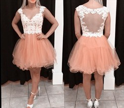 Peach Lace Embellished Bodice Sheer Back Short Homecoming Dress