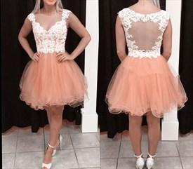 Peach Lace Embellished Bodice Sheer Back Short Homecoming Dress