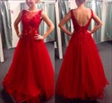 Red Illusion Lace Applique Open Back Tulle Long Prom Dress