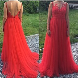 Red Open Back Sheer Lace Applique Tulle Floor Length Formal Dress
