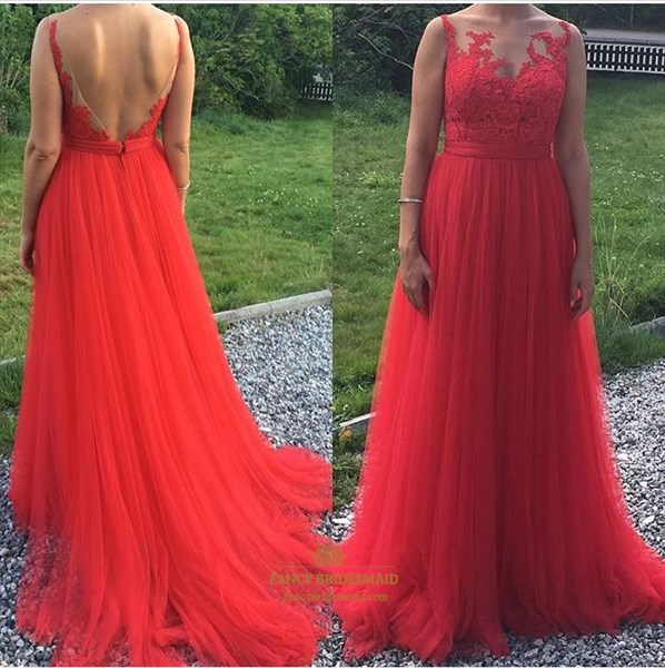 Red Open Back Sheer Lace Applique Tulle Floor Length Formal Dress